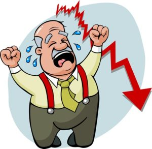 Crying man trading without stop loss